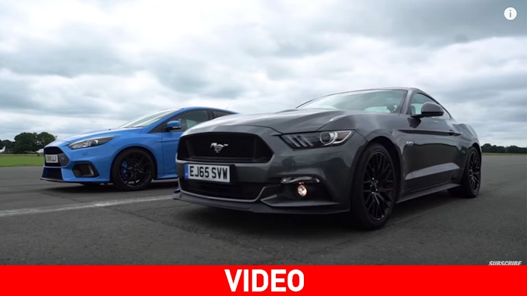 Focus RS εναντίον Ford Mustang στην ευθεία