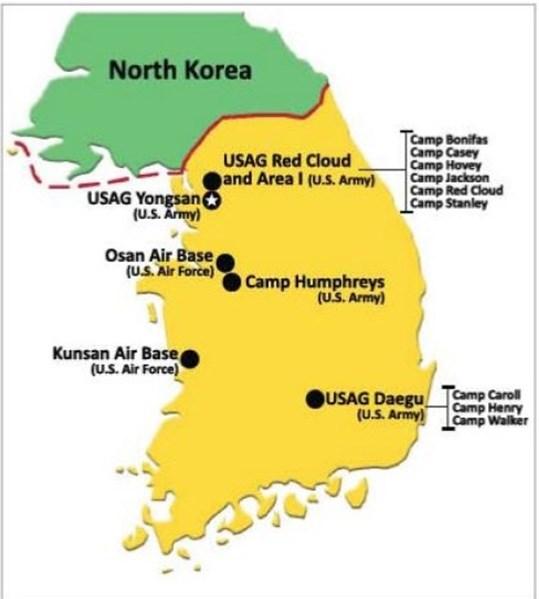 Αμερικάνικες βάσεις στη Ν. Κορέα. Οι νοτιοκορεάτες δεν διαθέτουν πυρηνικά όπλα, αλλά δεν είναι γνωστό αν βρίσκονται στις αποθήκες των εκεί αμερικάνικων βάσεων